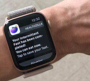 Photo of Healtzilla's app in smart watch.